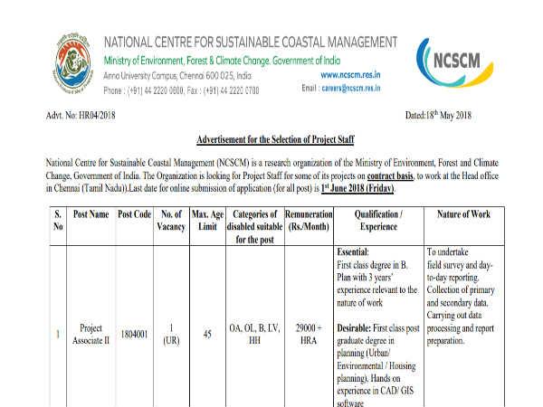 NCSCM में प्रोजेक्ट एसोसिएट के 157 पदों पर निकली वैकेंसी