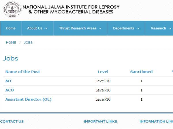 ICMR Jalma Recruitment 2018: लैब टेक्निशियन, लैब अटेंडेंट और अन्य पदों पर इंटरव्यू से भर्ती