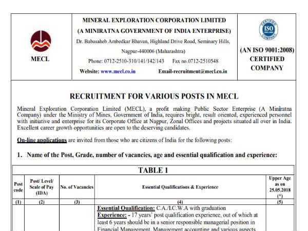 MECL Recruitment 2018: मैनेजर, असिस्टेंट और अन्य 245 पदो पर भर्ती