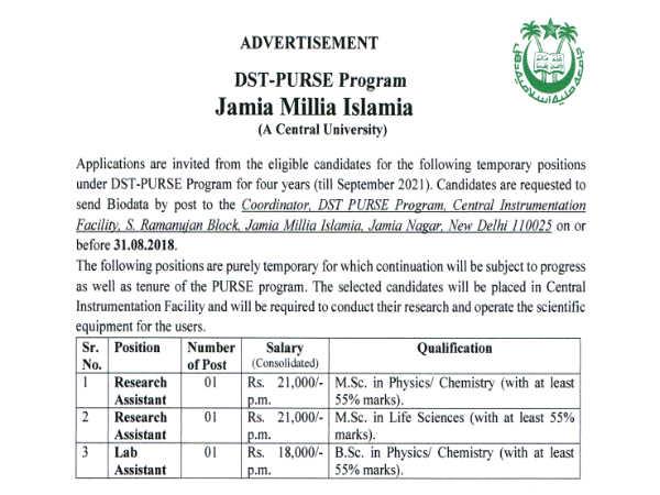 JMI Recruitment 2018: रिसर्च असिस्टेंट और लैब असिस्टेंट के कई पदों पर भर्ती