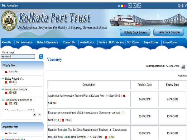 Kolkata Port Trust: ट्रेनी पायलट के पदों पर आवेदन आमंत्रित, देखे अंतिम तिथि