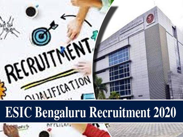 ESIC Bengaluru Recruitment 2020 / ईएसआईसी बेंगलुरु भर्ती 2020:  ट्यूटर के लिए 21 जनवरी तक करें Apply