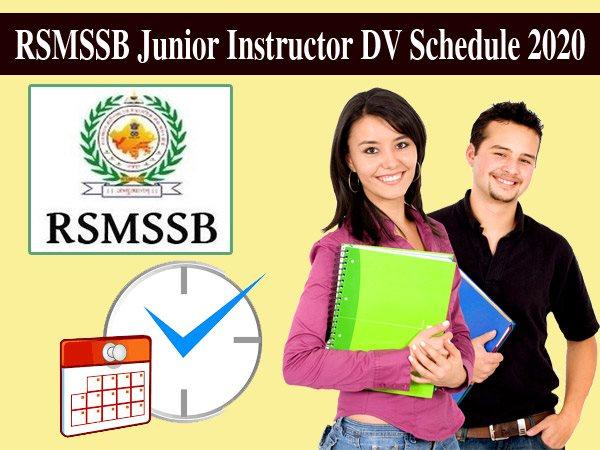 RSMSSB Junior Instructor DV Schedule 2020 / आरएसएमएसएसबी जूनियर प्रशिक्षक डीवी शेड्यूल 2020 जारी