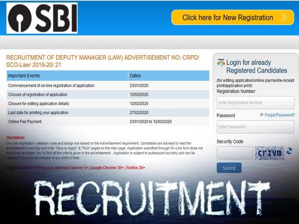 SBI Recruitment 2020 SO / एसबीआई एसओ भर्ती 2020: 12वीं पास सरकरी नौकरी के लिए करें आवेदन