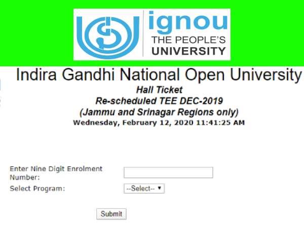 IGNOU BEd Admit Card 2020: इग्नू बीएड एडमिट कार्ड 2020 जारी, जम्मू-श्रीनगर मे 14 15 फरवरी को परीक्षा
