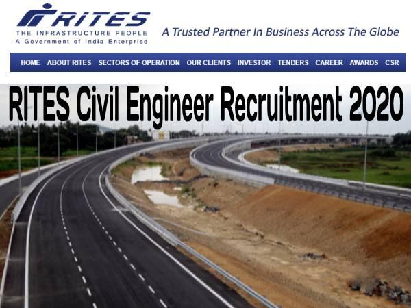 RITES Recruitment 2020: राइट्स इंजीनियर (सिविल) भर्ती 2020 के लिए 23 मार्च तक करें आवेदन