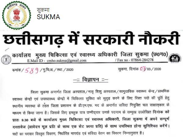 Chhattisgarh CMHO Recruitment 2020 Notification: छत्तीसगढ़ सीएमएचओ सुकमा भर्ती 2020 नोटिफिकेशन जारी
