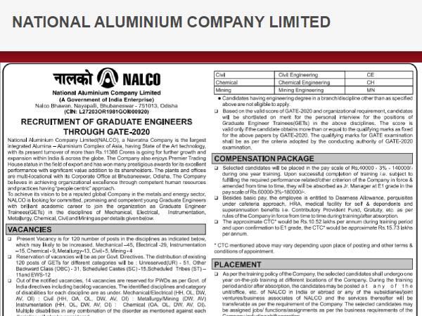 NALCO Recruitment 2020 Notification: नाल्को भर्ती 2020 नोटिफिकेशन जारी, 9 अप्रैल तक ऐसे करें आवेदन