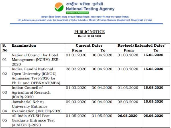 NTA Examination 2020: एनटीए ने इग्नू समेत कई परीक्षाओं की आवेदन तिथि बढ़ाई, यहां देखें लिस्ट