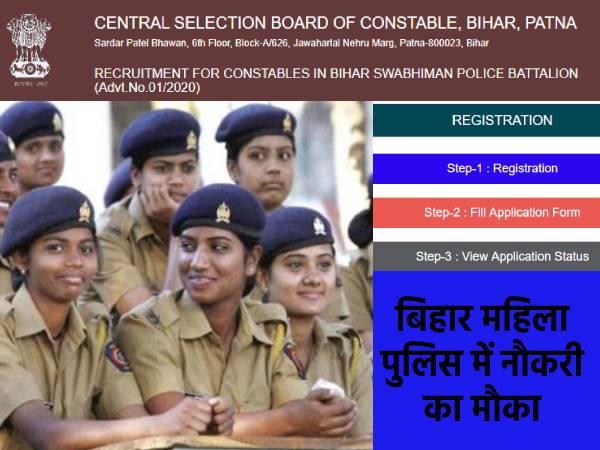 CSBC Bihar Lady Police Recruitment 2020: बिहार महिला पुलिस कॉन्स्टेबल भर्ती 2020 के लिए आवेदन शुरू