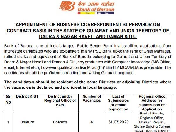 Bank of Baroda Recruitment 2020: बैंक ऑफ बड़ौदा में सुपरवाइजर की भर्ती के लिए 31 जुलाई करें आवेदन