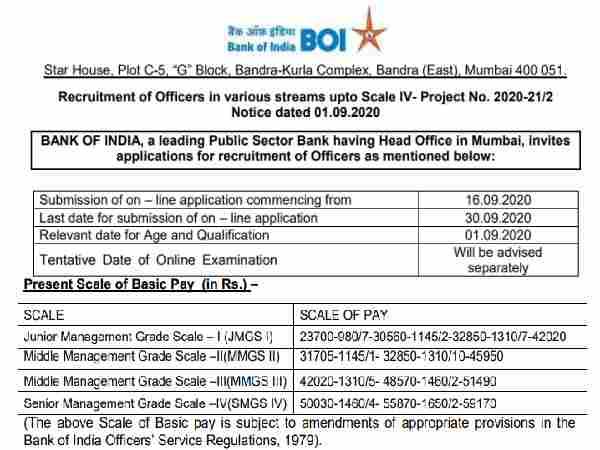 BOI Recruitment 2020 Notification: बैंक ऑफ इंडिया भर्ती 2020 के लिए 30 सितंबर तक करें आवेदन
