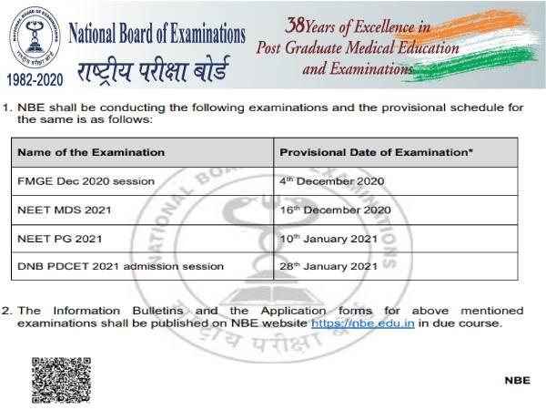 NEET PG 2021 Exam Date: नीट पीजी परीक्षा 2021 में 10 जनवरी को होगी, पढ़ें एनबीई का नोटिस