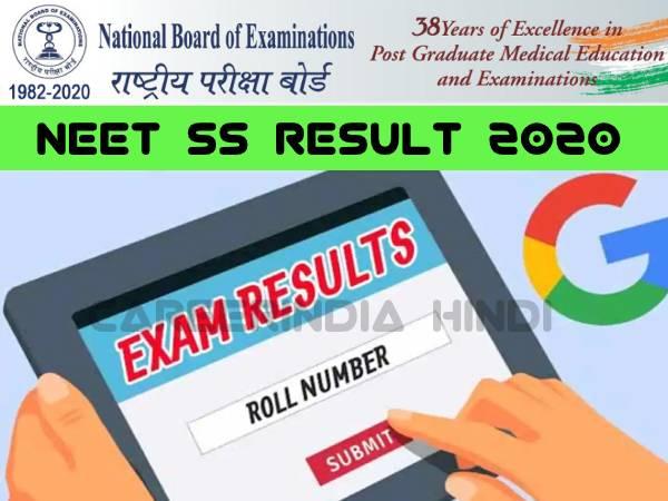 NEET SS 2020 Result Declared: नीट एसएस रिजल्ट 2020 nbe.edu.in पर जारी