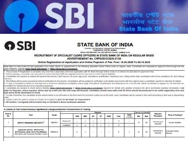 SBI SO Recruitment 2020 New: एसबीआई एसओ भर्ती प्रक्रिया, सिलेबस, परीक्षा तिथि, रिजल्ट और सैलरी डिटेल