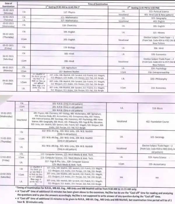 Bihar Board 12th Exam 2021 Date Time: बिहार बोर्ड 12वीं परीक्षा 2021 डेटशीट टाइम टेबल शेड्यूल पीडीएफ