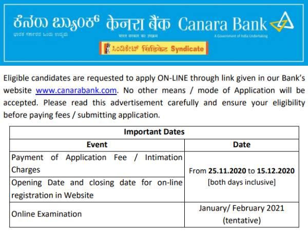 Canara Bank SORecruitment 2020: कैनरा बैंक एसओ भर्ती 2020 नोटिफिकेशन जारी, जानिए पूरी डिटेल