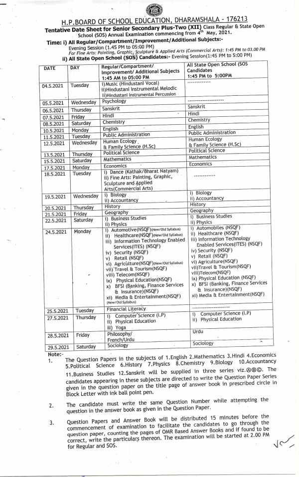 HP Board 12th Date Sheet 2021 PDF Download: एचपी बोर्ड 12वीं परीक्षा 2021 डेट शीट पीडीएफ डाउनलोड