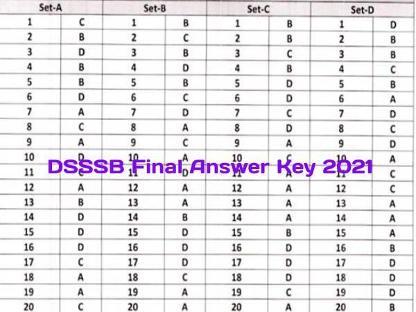 DSSSB Final Answer Key 2021 Download Link: डीएसएसएसबी फाइनल आंसर की 2021 डाउनलोड करें