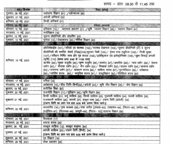 Rajasthan Board 10th 12th Time Table 2021 OUT | राजस्थान बोर्ड 10वीं 12वीं परीक्षा टाइम टेबल 2021