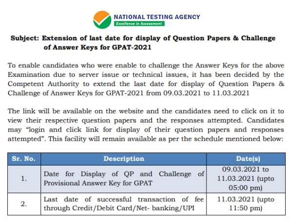 GPAT Answer Key 2021 Objection Last Date: जीपीएटी आंसर की 2021 पर 11 मार्च तक दर्ज करें आपत्ति