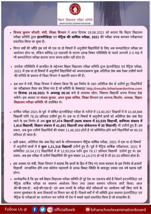 Bihar Board Compartment Result 2021: बिहार बोर्ड 10वीं 12वीं कंपार्टमेंट रिजल्ट 2021 ऑनलाइन चेक करें