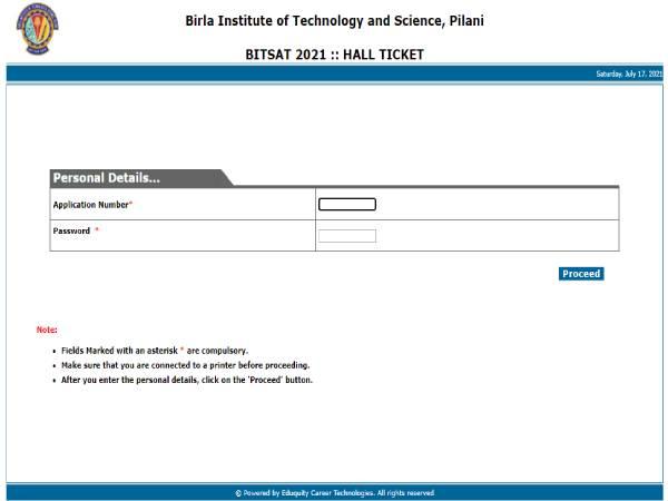 BITSAT Admit Card 2021 Download Link: बिटसैट एडमिट कार्ड 2021 bitadmission.com पर जारी