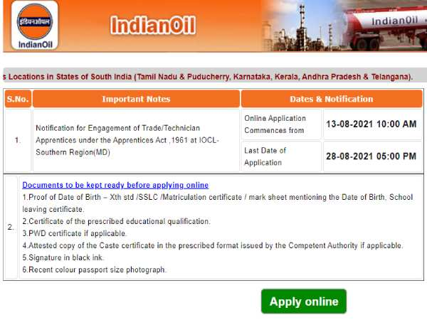 IOCL Apprentice Recruitment 2021: इंडियन ऑयल कंपनी में 10वीं पास के लिए भर्ती शुरू, 28 अगस्त तक करें