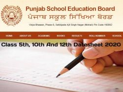 Pseb 5th 10th 12th New Date Sheet 2020 Released Download Here