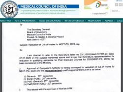 Neet Pg 2020 Counselling Government Reduces Pg Admission Cutoff 50 Percent Read Mci Notice Here
