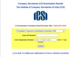 Icsi Cs Foundation Result 2021 Cseet January Check Direct Link