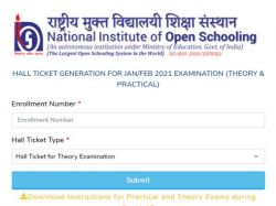 Nios 10th 12th Admit Card 2021 Download Direct Link
