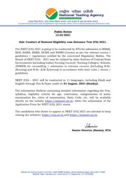 Neet 2021 Exam Date Time Released Nta Neet Ug Exam On August