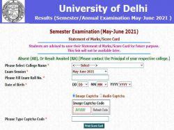 Delhi University Du Result 2021 Declared For Ba Bsc Final Semester Courses On Du Ac In