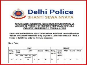 Delhi Police Recruitment For Constable 2018 Delhi Police Arunachal Pradesh Constable Recruitment