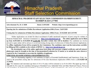Hpssc Recruitment 2020 Notification Hpsssb Hpssc Jobs Apply Online