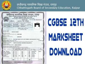 Cgbse 12th Marksheet Download