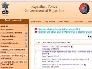 Rajasthan Police Constable Result 2018: कांस्टेबल परीक्षा के परिणाम घोषित, ऐसे करें चेक